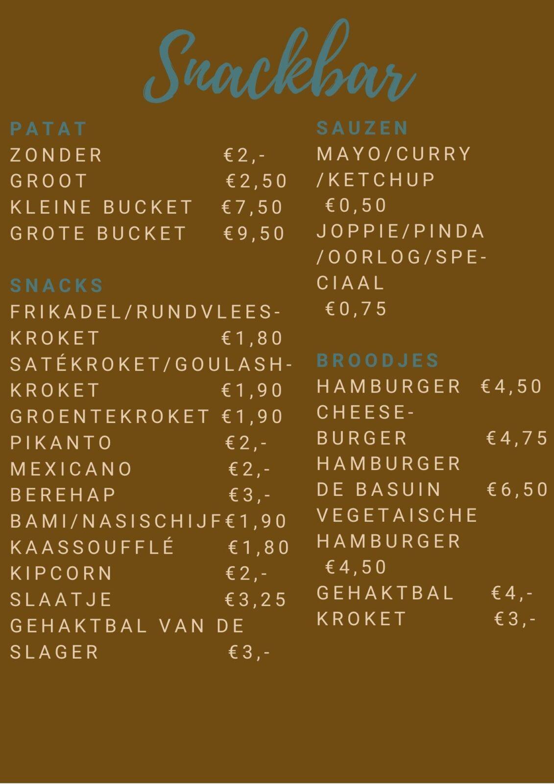 Cafetaria kaart de Basuin Leeuwarden